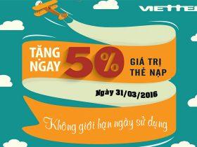 Viettel khuyến mãi 50% giá trị thẻ nạp