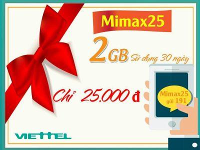 gói cước MiMax25 Viettel