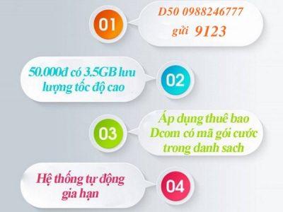 Đăng ký gói Dcom 3G D50 Viettel ưu đãi 3.5GB