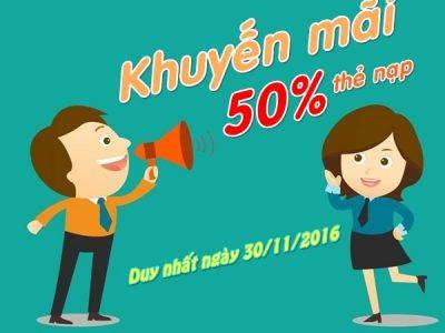 Viettel khuyến mãi cục bộ ngày 30/11/2016 tặng 50% thẻ nạp