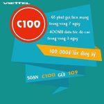 Đăng ký gói C100 Viettel nhận 400MB và 60 phút gọi với 100.000đ