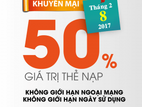Viettel khuyến mãi ngày 8/2/2017 tặng 50% giá trị thẻ nạp