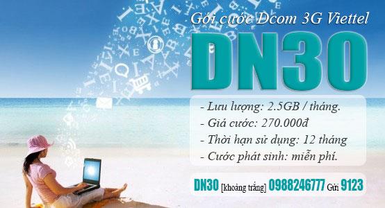 Đăng ký gói DN30 Viettel truy cập Internet cả năm chỉ 270.000đ