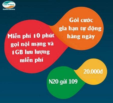 Đăng ký gói N20 Viettel truy cập Internet thả ga, vô tư gọi thoại