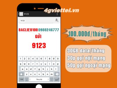 Gói cước BACLIEU100 Viettel chỉ 100.000đ có ngay 80p gọi +30GB data/tháng