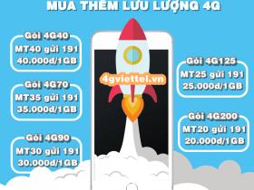 Cách mua thêm dung lượng 4G Viettel bổ sung 1GB data tốc độ cao