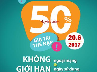 Viettel khuyến mãi 20/6/2017 ưu đãi ngày vàng tặng 50% thẻ nạp