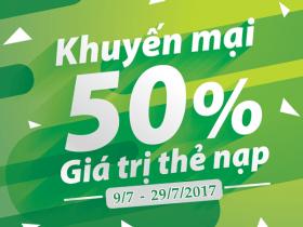 Viettel khuyến mãi 9/7 - 29/7/2017 tặng 50% thẻ nạp cục bộ