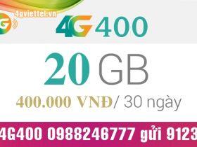 Đăng ký gói cước 4G400 Viettel ưu đãi data khủng