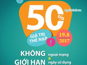 Viettel khuyến mãi 19/8/2017 ưu đãi ngày vàng