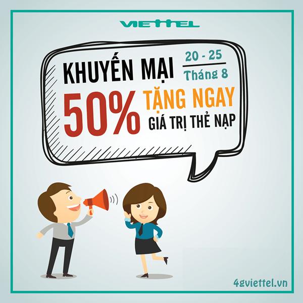 Viettel khuyến mãi 20/8 - 25/8/2017 tặng 50% giá trị thẻ nạp