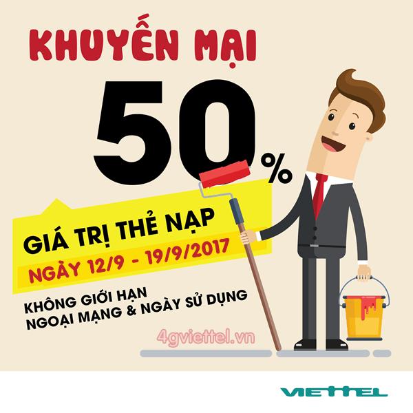 Viettel khuyến mãi từ 12/9 - 19/9 tặng 50% thẻ nạp