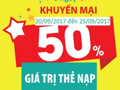Viettel khuyến mãi 20/9 - 25/9/2017 tặng 50% thẻ nạp