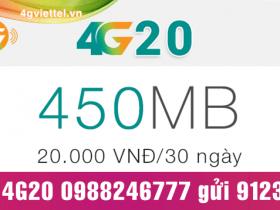 Đăng ký gói cước 4G20 Viettel chỉ 20.000đ