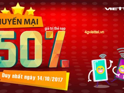 Viettel khuyến mãi 14/10/2017 cho thuê bao nhận tin nhắn