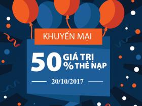 Viettel khuyến mãi 20/10/2017 ưu đãi ngày vàng cho thuê bao trả trước
