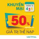 Viettel khuyến mãi 4/10 - 6/10/2017 tặng 50% giá trị tiền nạp