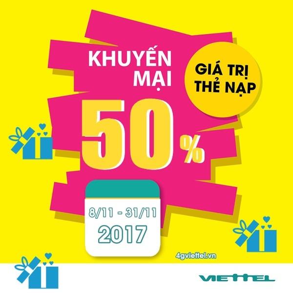 Viettel khuyến mãi 8/11 - 30/11/2017 cho thuê bao thỏa điều kiện