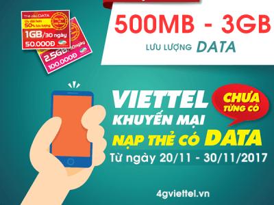 Viettel khuyến mãi nạp thẻ tặng data áp dụng từ 20/11 - 30/11/2017