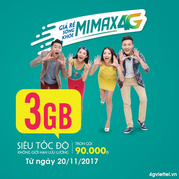 Viettel nâng cấp data gói MIMAX4G Viettel từ 2GB lên 3GB