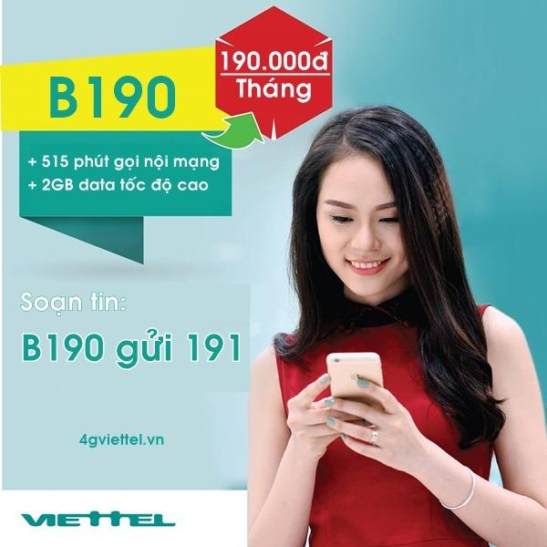Đăng ký gói cước B190 Viettel 190.000đ/tháng