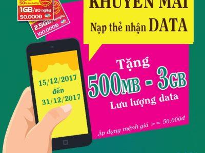 Viettel khuyến mãi nạp thẻ tặng data từ 15/12 - 31/12/2017