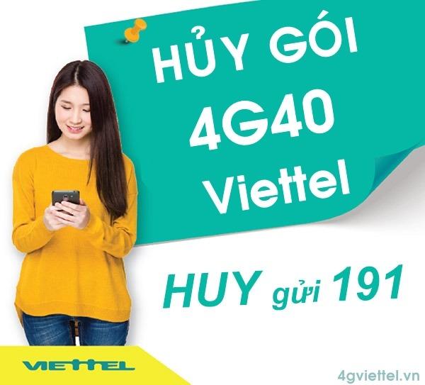 Cách hủy gói cước 4G40 Viettel nhanh nhất