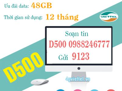 Đăng ký gói cước D500 Viettel 500.000đ/12 tháng