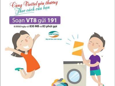 Đăng ký gói cước VT8 Viettel chỉ 8.000đ/ngày