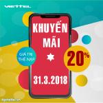 Viettel khuyến mãi 31/3/2018 ưu đãi ngày vàng trên toàn quốc