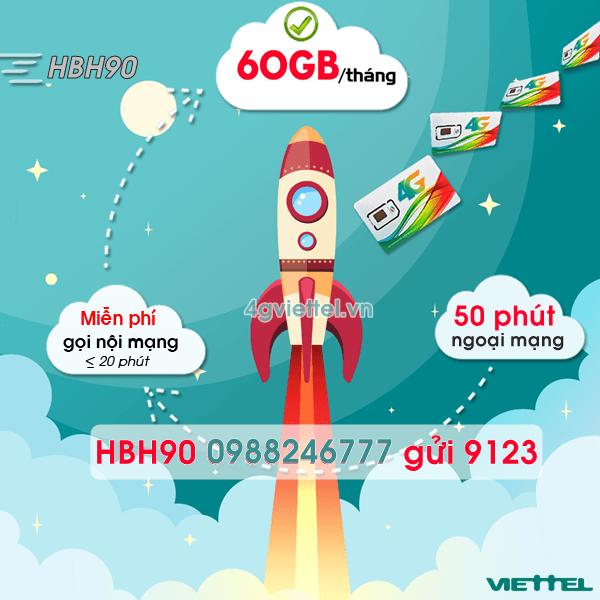 Đăng ký gói cước HBH90 Viettel chỉ 90.000đ/tháng
