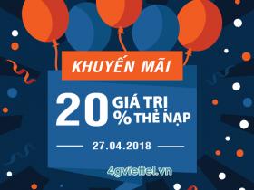 Viettel khuyến mãi 27/4/2018 ưu đãi ngày vàng trên toàn quốc