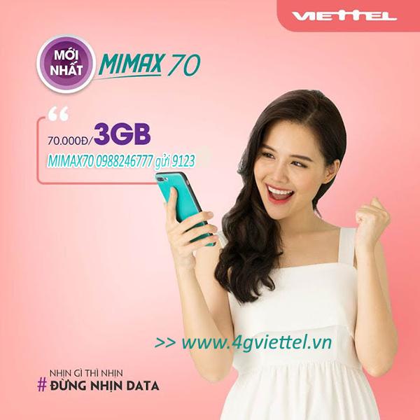 Đăng ký gói MIMAX70 Viettel trọn gói 3GB data giá chỉ 70.000đ/tháng