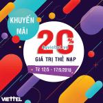 Viettel khuyến mãi 12/5 - 17/5/2018 ưu đãi cục bộ
