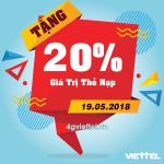 Viettel khuyến mãi 19/5/2018 ưu đãi 20% giá trị thẻ nạp