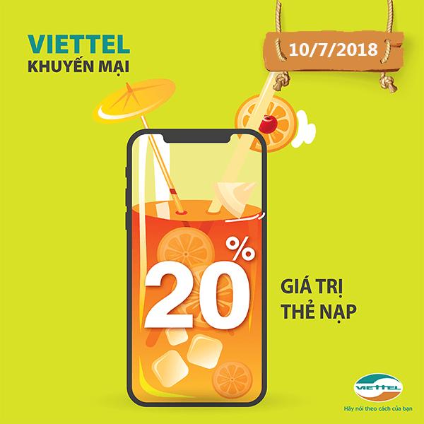 Viettel khuyến mãi 10/7/2018 ưu đãi 20% giá trị thẻ nạp