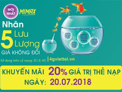 Viettel khuyến mãi 20/7/2018 ưu đãi 20% thẻ nạp