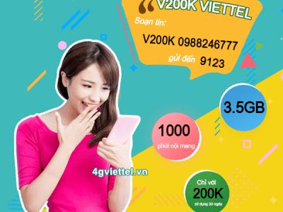 Đăng ký gói cước V200K Viettel chỉ 200.000đ/tháng
