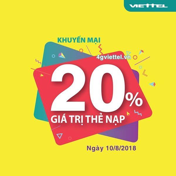 Viettel khuyến mãi 10/8/2018 ưu đãi 20% thẻ nạp