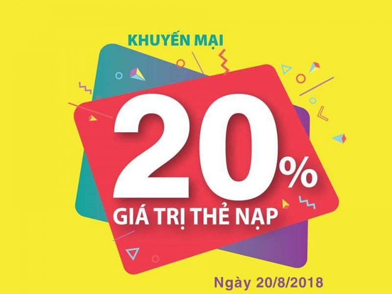 Viettel khuyến mãi 20/8/2018 ưu đãi 20% thẻ nạp
