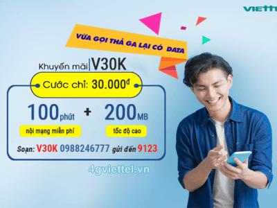 Đăng ký gói cước V30K Viettel chỉ với 30.000đ/tháng
