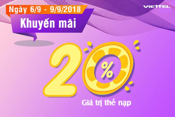 Viettel khuyến mãi 6/9 - 9/9/2018 ưu đãi 20% thẻ nạp