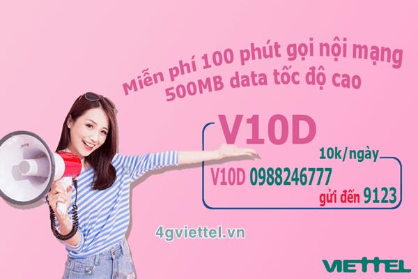Đăng ký gói cước V10D Viettel chỉ 10.000đ/ngày