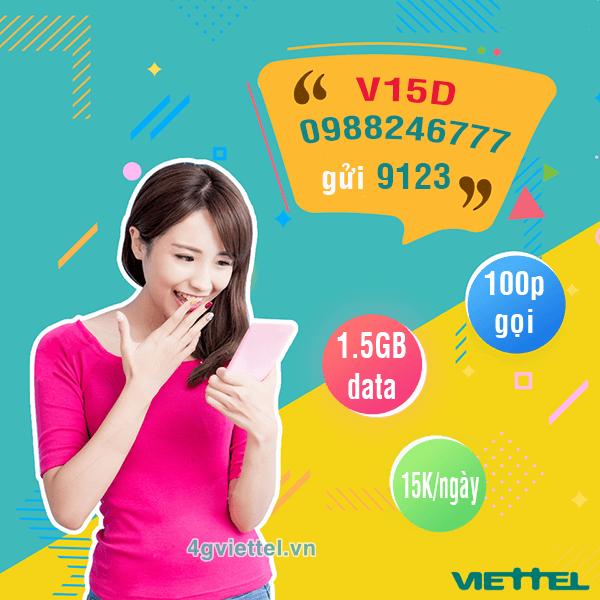 Đăng ký gói cước V15D Viettel ưu đãi data + gọi thoại