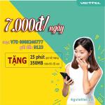 Đăng ký gói cước V7D Viettel chỉ 7.000đ/lần đăng ký