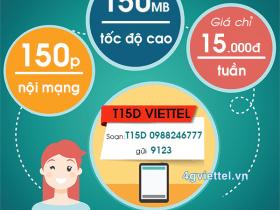 Đăng ký gói cước T15D Viettel chỉ 15.000đ/tuần