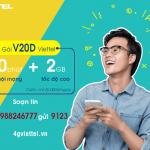 Đăng ký gói cước V20D Viettel chỉ 20.000đ nhận 200 phút gọi và 2GB data
