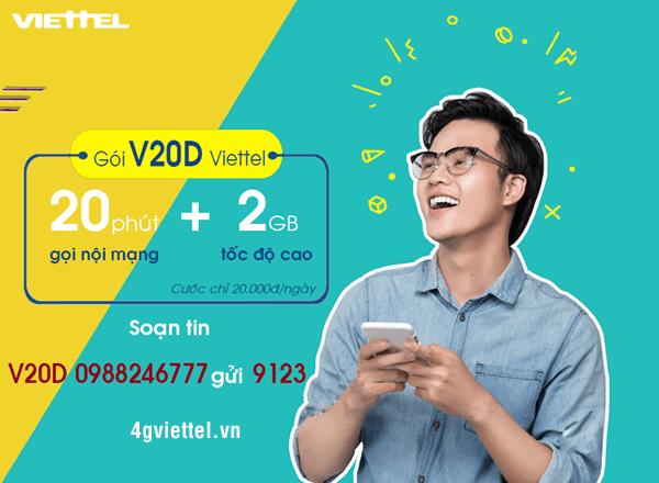 Đăng ký gói V20D Viettel nhận ưu đãi kép 200 phút gọi + 2GB data