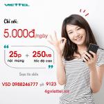 Đăng ký gói cước V5D Viettel chỉ 5.000đ/tháng