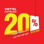 Viettel khuyến mãi 10/10/2018 ưu đãi ngày vàng toàn quốc